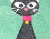 Black Cat on Green Tissue Cozy