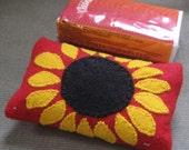 Sunflower on Red Felt Tisue Cozy - FELTITNYC