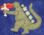 Godzilla Destroys a Plane on Light Blue Bodysuit (size 3-6 mo.)