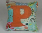 """Turquoise and Orange """"P"""" Tooth Fairy Pillow"""