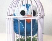 Turquoise Blue Owl in Light Purple Mini Bird Cage