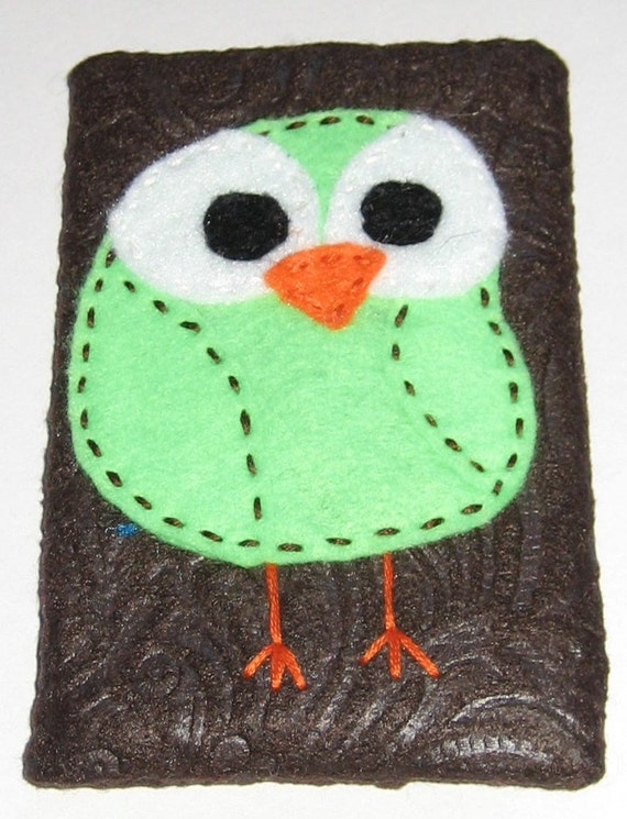 Lime Green Owl on Brown Embossed Tissue Cozy