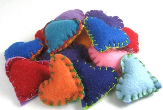 Four Multi-Colored Eco-Felt Pocket Hearts