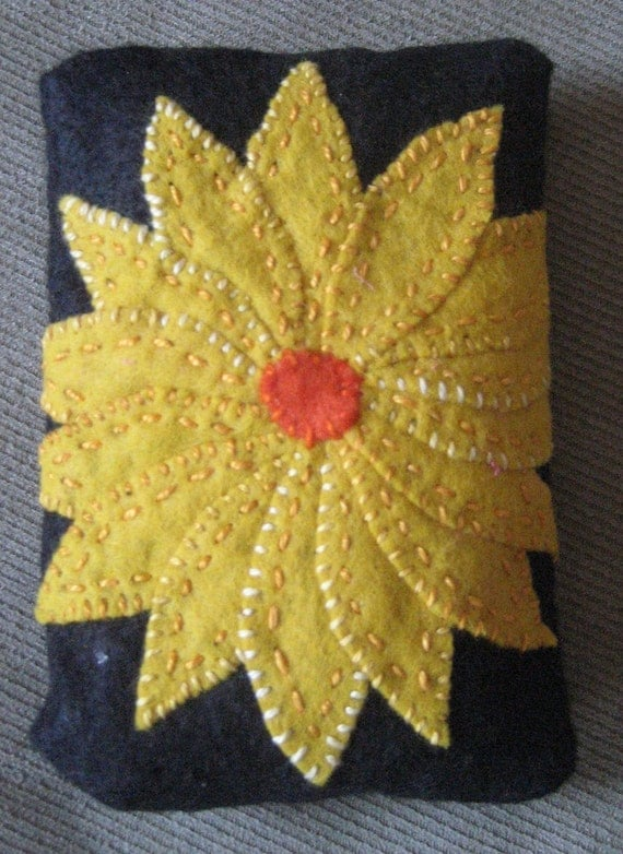 Yellow Flower on Black Tissue Cozy
