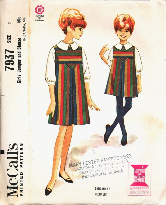 1960s McCALL'S 7937 Girls Jumper and Blouse Pattern Size 7