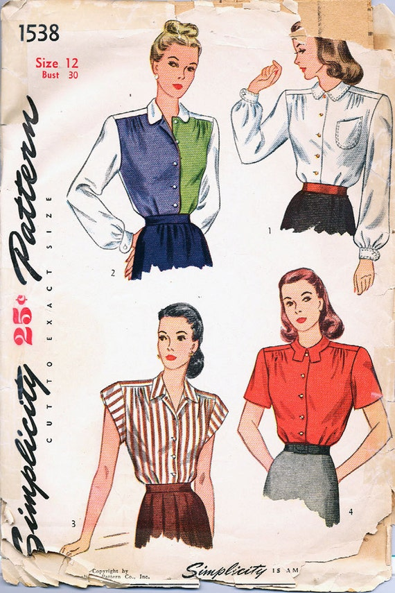 Mid 1950s SIMPLICITY 1538 Fitted Blouse Pattern Size 12