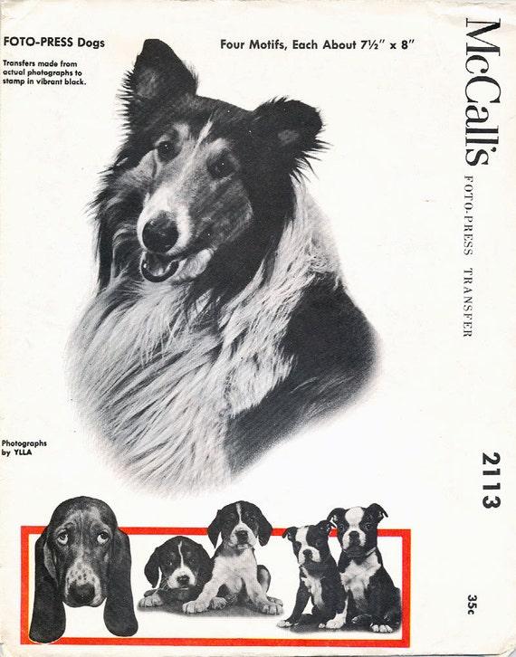 Vintage 1956 McCALLS Foto Press Dogs Transfer Pattern
