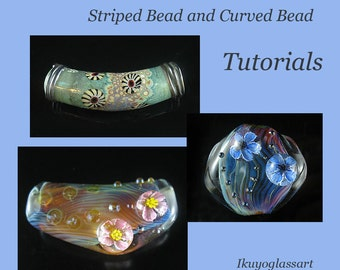 3-in-one Lampwork Tutorial:  How to Make 3-D Flower Murrini, Striped and Curved Beads by Ikuyo