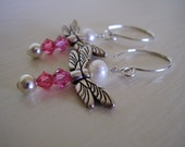 Dancing Dragonfly Earrings, Pink Swarovski Crystals and Freshwater Pearls Dragonfly Earrings