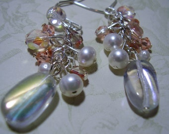Pearl Dangle Earrings,Peach Dangle Earrings,Pearls and Glass Beads Cluster Earring,Oval Glass Bead Drop Earrings,Sparkle Peach Drop Earrings