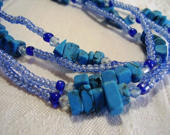 Turquoise Gemstone and Blue Glass Long Beaded Necklace,70's Blue beads Turquoise Chips Long Necklace,70's Vintage Necklace