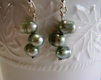 Sea Mist Freshwater Pearl Earrings, Bridesmaids Earrings, Wedding Earrings, Sea Mist Pearls, Mother of the Bride Earrings, Proms, Pearls