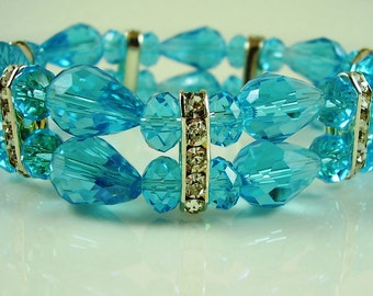 Vintage Aqua Crystal Bracelet, Something Blue Bracelet, Weddings, Bridal Bracelet, Mother of the Bride Bracelet, Aqua Crystal Bracelet, Gift