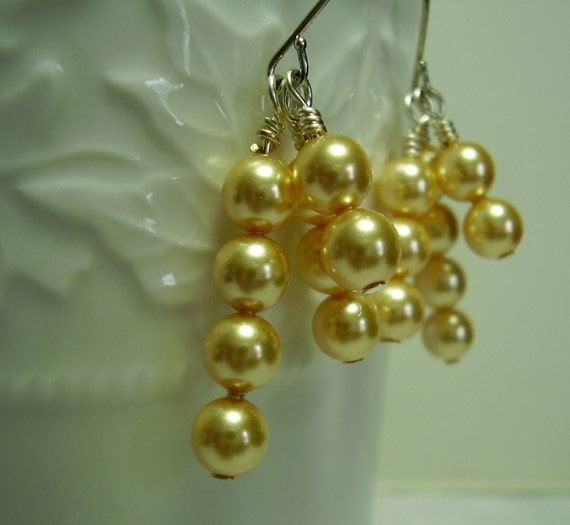Golden Shimmer Pearl Earrings for Weddings, Special Occasions, Bridal, Bridesmaids, Mother of Bride, Mother of Groom