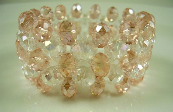 Vintage Fairy Princess Pink and Clear Crystal Bracelet, Weddings, Bridesmaids, Prom Jewelry