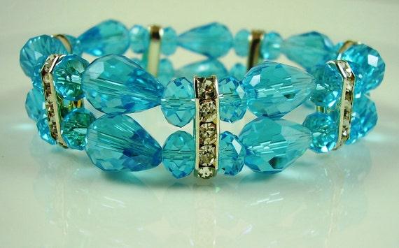 Vintage Aqua Crystal Bracelet, Something Blue Bracelet, Weddings, Bridal Bracelet, Mother of the Bride Bracelet, Aqua Crystal Bracelet, Gift
