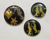 3 Vintage Old Unique Buttons with Circus Seals Seahorse Hearts
