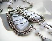 Breathe...  sterling silver and blue crazy lace agate wire wrapped necklace
