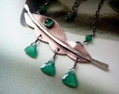 Green triangles necklace - copper, sterling silver green onyx & agate