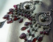 RESERVED - INSTALLMENT 1 - Fools gold chandelier earrings - sterling silver, pyrite and garnet