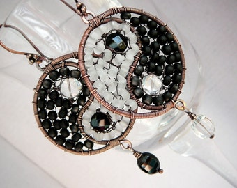 Perfect Balance wire wrapped hoop earrings - copper, black spinel, onyx and rock crystal gemstones