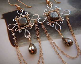 Iron Lady filigree chandelier earrings - sterling silver, goldfill and pyrite gemstones