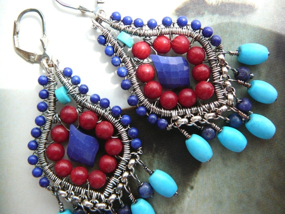 The Arabesque earrings - lapis, coral, turquoise and sterling silver