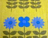 Vintage 1970s Dekoplus Fabric - Blue Scandi Flowers on Mustard