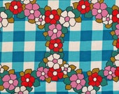 Vintage 1970s  Fabric - Blue gingham with Flowers.