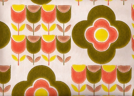 Vintage 1970s Wallpaper - Pop Tulips - Price per yard