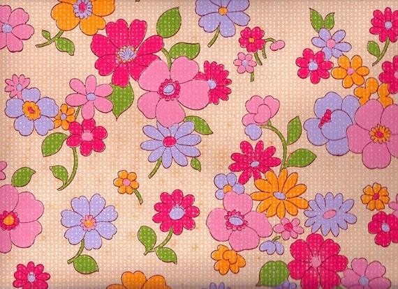 items similar to vintage pink flower 1970 39 s wallpaper 1