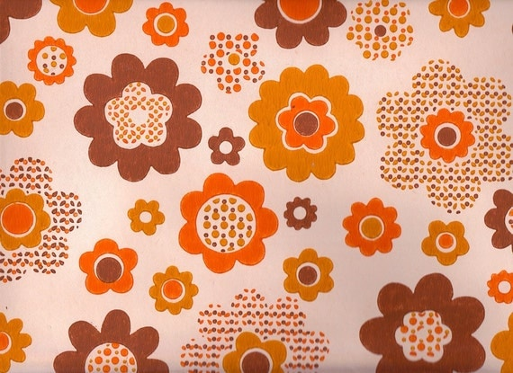 items similar to vintage 1970s orange funky flower wallpaper price is per yard on etsy. Black Bedroom Furniture Sets. Home Design Ideas