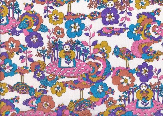 1 Metre of Whimsical, Folk, Scandinavian Vintage Fabric