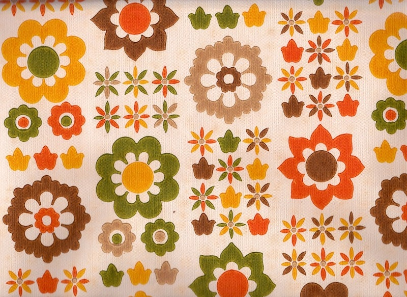 vintage 1970s wallpaper fab funky 70s flowers by pommedejour