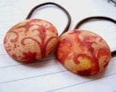 Fabric Button Ponytail, Set of 2 in Sunset Orange Batik