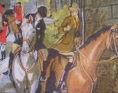 Vintage scarf hankie equaestrian scene horses riders