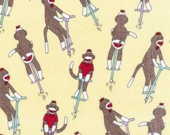 Sock Monkey fabric | Banana Yellow Jumpin | Cotton Quilt fabric