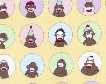 Sock Monkey fabric | Banana Yellow Circle of Friends | Quilting Cotton fabric