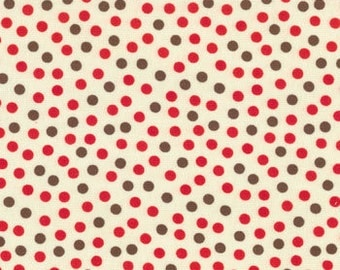 Sock Monkey fabric | Dots Red Brown 15073 17 | Quilting Cotton fabric Last piece