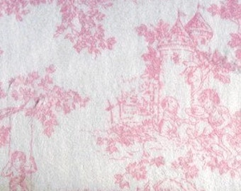 Pink Central Park Toile Minkee Minky Chenille fabric   Soft Fabric