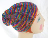 SALE: Lantana Beanie Cap, Hand Knit, Soft Wool, Rainbow Colors