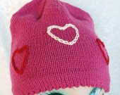 SALE: Lila Beanie / Ski Hat with Embroidered and Felted Hearts