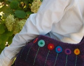 SALE:  Dahlia Shoulder Bag, Purple with Felted Flowers