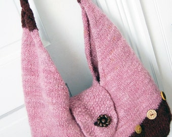 SALE: Claudia Purse, Hand Knit and Felted with Button Embellishment
