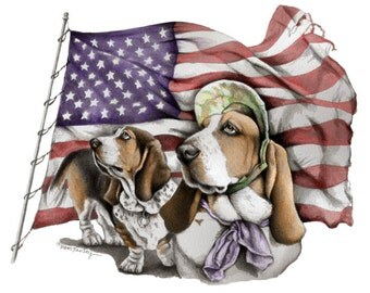 Basset Limited Edition Patriotic flag Print n Free Card