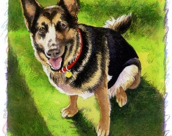 German Shepherd Dog Art Open Edition Print great gift ready to frame