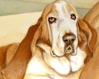 Basset Hound art signed Print n Free Matching card great gift