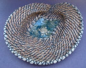 Pine Needle Basket, Turtle Pond, Brown Green, Coiled Basket, Home Decor
