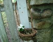 Flower Girl Basket Dried Leaf  Long Handled Ivy Woodland Wedding