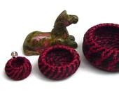 SALE Horse Hair Baskets,  Horsehair, Nested Set, Three baskets